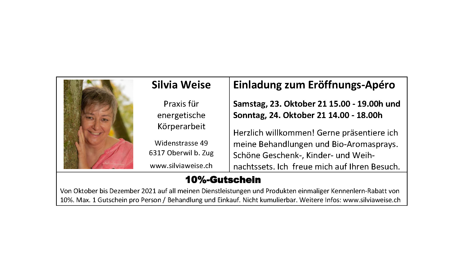 Inserat Dorfzytig - Silvia Weise Oberwil bei Zug - Cosmogetische Beraterin Heilerin